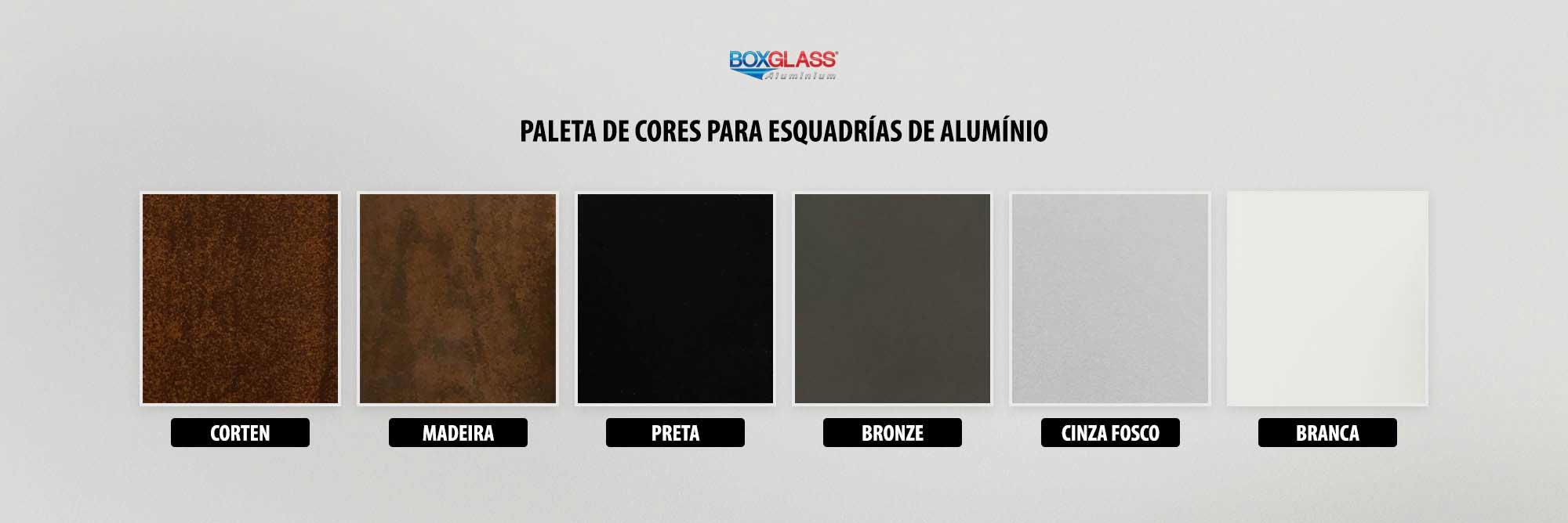 cores para esquadrias de alumínio Boxglass