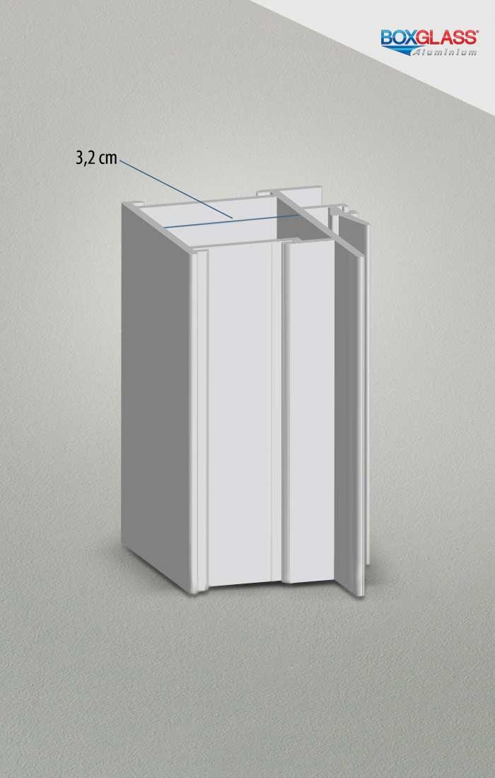 perfil 32 esquadria de alumínio Boxglass
